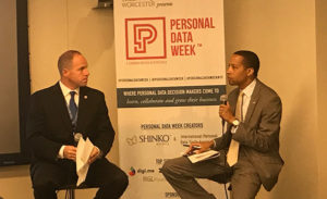 Sen Tim Kennedy discusses personal data rights with James at last year's Personal Data Week